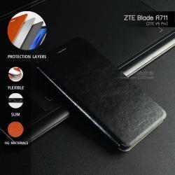 เคส ZTE Blade A711 (ZTE V5 Pro) เคสหนังฝาพับ + แผ่นเหล็กป้องกันตัวเครื่อง (บางพิเศษ) สีดำ