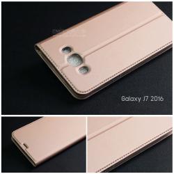 เคส Samsung Galaxy J7 Version 2 (2016) เคสฝาพับเกรดพรีเมี่ยม (เย็บขอบ) พับเป็นขาตั้งได้ สีโรสโกลด์ (Dux Ducis)