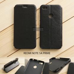 เคส Xiaomi Redmi Note 5A Prime เคสฝาพับบางพิเศษ พร้อมแผ่นเหล็กป้องกันของมีคม พับเป็นขาตั้งได้ สีดำ