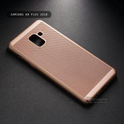 เคส Samsung Galaxy A8+ (Plus) 2018 เคสแข็งสีเรียบ (รูระบายอากาศที่เคส) สีทอง