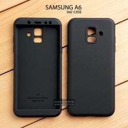 เคส Samsung Galaxy A6 เคสแข็ง 3 ส่วน ครอบคลุม 360 องศา (สีดำ - ดำ)