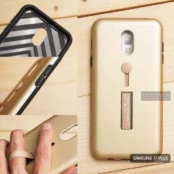 เคส Samsung J7 Plus เคส Hybrid เกรดพรีเมี่ยม 2 ชั้น ขอบยางลดแรงกระแทก พร้อม (ขาตั้ง + สายคล้องนิ้ว) สีทอง