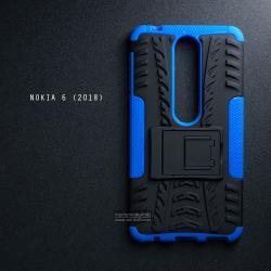 เคส Nokia 6 (2018) เคสบั๊มเปอร์ กันกระแทก Defender (พร้อมขาตั้ง) สีน้ำเงิน