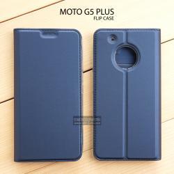 เคส Moto G5 Plus เคสฝาพับเกรดพรีเมี่ยม (เย็บขอบ) พับเป็นขาตั้งได้ สีกรมท่า (Dux Ducis)