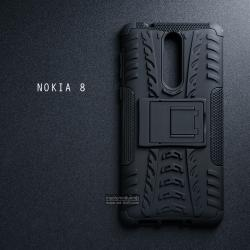 เคส Nokia 8 เคสบั๊มเปอร์ กันกระแทก Defender (พร้อมขาตั้ง) สีดำ