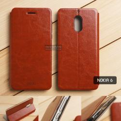 เคส Nokia 6 เคสฝาพับบางพิเศษ พร้อมแผ่นเหล็กป้องกันของมีคม พับเป็นขาตั้งได้ (MOFI) สีน้ำตาล