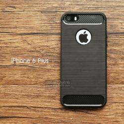 เคส iPhone 6 Plus เคสนิ่มเกรดพรีเมี่ยม (Texture ลายโลหะขัด) กันลื่น ลดรอยนิ้วมือ สีดำ