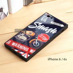 เคส iPhone 6 / 6s เคสขอบยางดำ + กระจกกันรอยครอบทับหลังเคส เกรดพรีเมี่ยม พิมพ์ลาย แบบที่ 4