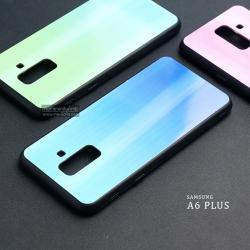 เคส Samsung Galaxy A6 Plus เคสขอบนิ่มสีดำ + ฝาหลังอะคริลิค (สีฟ้า - น้ำเงิน - ผิวเงา สะท้อนแสงเป็นรุ้ง) แบบที่ 2