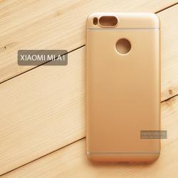 เคส Xiaomi Mi A1 เคสแข็งสีเรียบ คลุมขอบ 4 ด้าน สีทอง (แถบสีเงิน บน-ล่าง)