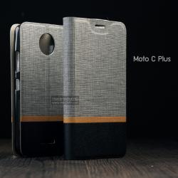 เคส Moto C Plus เคสนิ่ม TPU เคสฝาพับหนัง PVC มีช่องใส่บัตร สีเทา