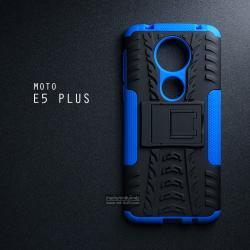 เคส MOTO E5 PLUS เคสบั๊มเปอร์ กันกระแทก Defender (พร้อมขาตั้ง) สีน้ำเงิน
