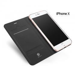 เคส iPhone X เคสฝาพับเกรดพรีเมี่ยม เย็บขอบ พับเป็นขาตั้งได้ สีเทา (Dux ducis)