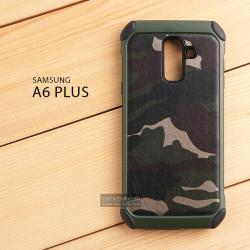 เคส Samsung Galaxy A6 Plus เคส Hybrid บั๊มเปอร์ เสริมขอบกันกระแทก Defender ลายทหาร สีเขียว