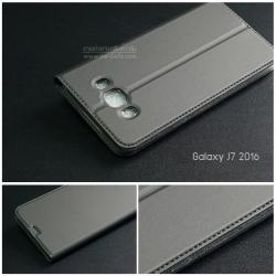 เคส Samsung Galaxy J7 Version 2 (2016) เคสฝาพับเกรดพรีเมี่ยม (เย็บขอบ) พับเป็นขาตั้งได้ สีเทา (Dux Ducis)