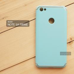 เคส Xiaomi Redmi Note 5A Prime เคสแข็งสีเรียบ คลุมขอบ 4 ด้าน สีฟ้า (แถบสีเงิน บน-ล่าง)