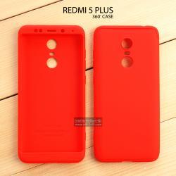 เคส Xiaomi Redmi 5 Plus เคสแข็ง 3 ส่วน ครอบคลุม 360 องศา (สีแดง - แดง)