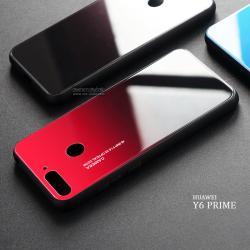 เคส Huawei Y6 Prime เคสขอบนิ่มสีดำ + กระจกกันรอยครอบทับหลังเคส (สีแดงอ่อน - ดำ - ผิวเงา)