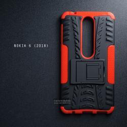 เคส Nokia 6 (2018) เคสบั๊มเปอร์ กันกระแทก Defender (พร้อมขาตั้ง) สีแดง