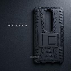 เคส Nokia 6 (2018) เคสบั๊มเปอร์ กันกระแทก Defender (พร้อมขาตั้ง) สีดำ