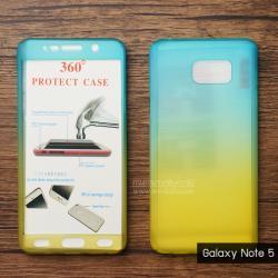 เคส Samsung Galaxy Note 5 เคสแข็งความยืดหยุ่นสูง (ด้านหน้า/ด้านหลัง) สีสันสดใส (สีฟ้า/สีเหลือง)