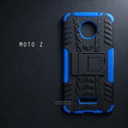 เคส Moto Z เคสบั๊มเปอร์ กันกระแทก Defender (พร้อมขาตั้ง) สีน้ำเงิน