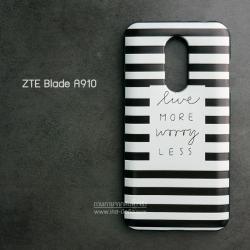 เคส ZTE Blade A910 เคสนิ่ม TPU พิมพ์ลาย (ขอบดำ) แบบที่ 2 Live More Worry Less