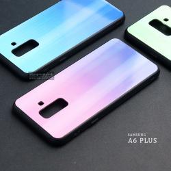 เคส Samsung Galaxy A6 Plus เคสขอบนิ่มสีดำ + ฝาหลังอะคริลิค (สีชมพู - ม่วง - ผิวเงา สะท้อนแสงเป็นรุ้ง) แบบที่ 2