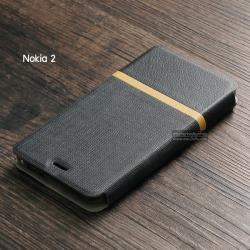 เคส Nokia 2 เคสฝาพับหนัง PVC มีช่องใส่บัตร สีดำ