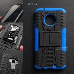 เคส MOTO X4 เคสบั๊มเปอร์ กันกระแทก Defender (พร้อมขาตั้ง) สีน้ำเงิน