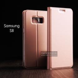 เคส Samsung Galaxy S8 เคสฝาพับเกรดพรีเมี่ยม (เย็บขอบ) พับเป็นขาตั้งได้ สีโรสโกลด์