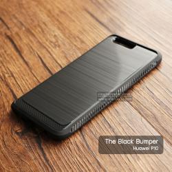 เคส Huawei P10 เคส Hybrid + ขอบกันกระแทก ลดรอยนิ้วมือบนเคส สีดำ (BLACK BUMPER)