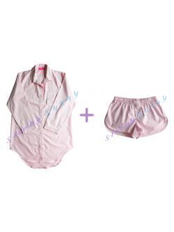 Promotion db21X set สีชมพูอ่อนไซส์ใหญ่ ชุดนอนเดรสเชิ้ต (Size L) + boxer (Size XL) --> Pajamazz