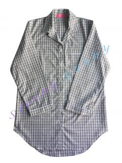 ds67 ชุดนอนเดรสเชิ้ต ลายสก็อตสีขาวเทา พร้อมส่ง Size S,M --> Pajamazz