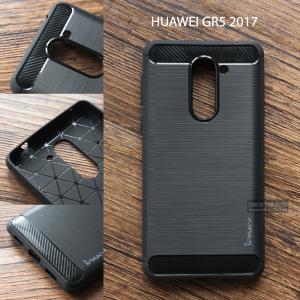 เคส Huawei GR5 2017 เคสนิ่มเกรดพรีเมี่ยม (Texture ลายโลหะขัด) กันลื่น ลดรอยนิ้วมือ สีดำ (iPaky)