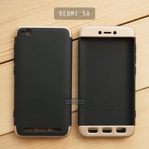 เคส Xiaomi Redmi 5A เคสแข็ง 3 ส่วน ครอบคลุม 360 องศา (สีดำ - ทอง)
