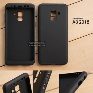 เคส Samsung Galaxy A8 2018 เคสแข็ง 3 ส่วน ครอบคลุม 360 องศา (สีดำ - ดำ)