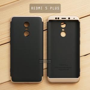 เคส Xiaomi Redmi 5 Plus เคสแข็ง 3 ส่วน ครอบคลุม 360 องศา (สีดำ - ทอง)