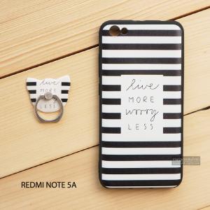เคส Redmi Note 5A เคสนิ่ม TPU พิมพ์ลายนูน (ขอบดำ) + แหวนมือถือ แบบที่ 1 live more worry less