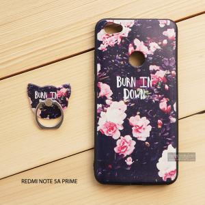 เคส Redmi Note 5A Prime เคสนิ่ม TPU พิมพ์ลายนูน (ขอบดำ) + แหวนมือถือ แบบที่ 1 Burn in down