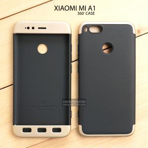 เคส Xiaomi Mi A1 เคสแข็งแบบ 3 ส่วน ครอบคลุม 360 องศา (สีดำ - ทอง)