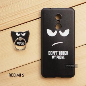 เคส Redmi 5 เคสนิ่ม TPU พิมพ์ลายนูน (ขอบดำ) + แหวนมือถือ แบบที่ 3 Don't touch my phone