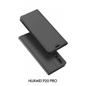 เคส Huawei P20 PRO เคสฝาพับเกรดพรีเมี่ยม เย็บขอบ พับเป็นขาตั้งได้ สีเทา (Dux Ducis)