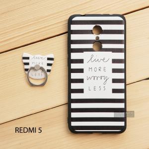 เคส Redmi 5 เคสนิ่ม TPU พิมพ์ลายนูน (ขอบดำ) + แหวนมือถือ แบบที่ 1 live more worry less
