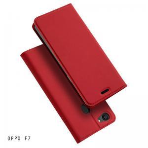 เคส OPPO F7 เคสฝาพับเกรดพรีเมี่ยม เย็บขอบ พับเป็นขาตั้งได้ สีแดง (Dux Ducis)