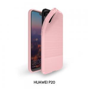เคส Huawei P20 เคสนิ่มเกรดพรีเมี่ยม (Texture ลายโลหะขัด) กันลื่น ลดรอยนิ้วมือ (สีชมพู)