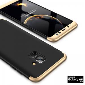 เคส Samsung Galaxy A6 เคสแข็ง 3 ส่วน ครอบคลุม 360 องศา (สีดำ - ทอง)