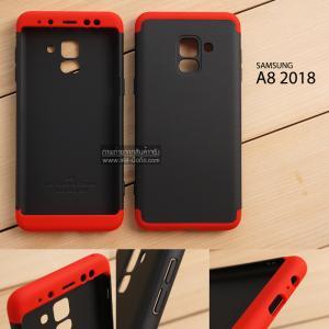 เคส Samsung Galaxy A8 2018 เคสแข็ง 3 ส่วน ครอบคลุม 360 องศา (สีดำ - แดง)