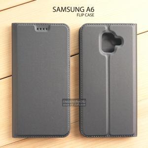 เคส Samsung Galaxy A6 เคสฝาพับเกรดพรีเมี่ยม เย็บขอบ พับเป็นขาตั้งได้ สีเทา (Dux Ducis)