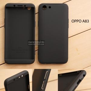 เคส OPPO A83 เคสแข็งแบบ 3 ส่วน ครอบคลุม 360 องศา (สีดำ - ดำ)